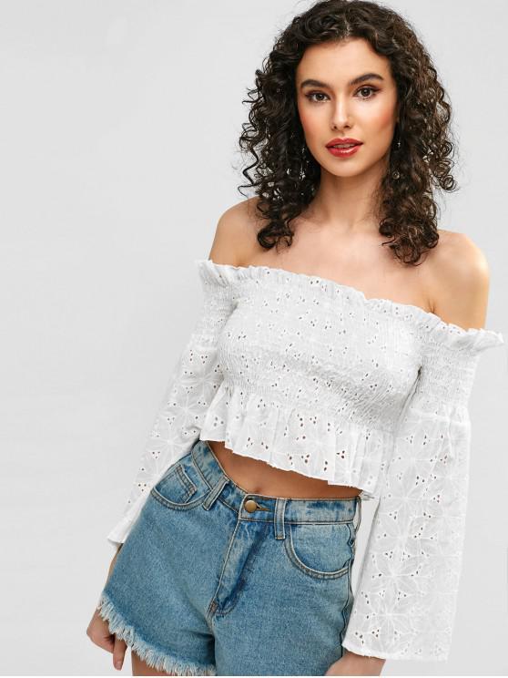 women Off Shoulder Crop Smocked Blouse - WHITE M