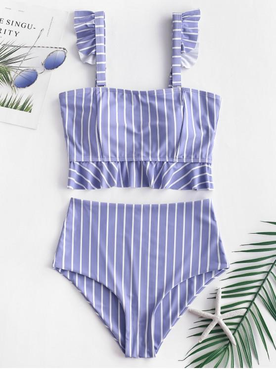 new ZAFUL Striped Ruffle High Waisted Tankini Set - MULTI-A L