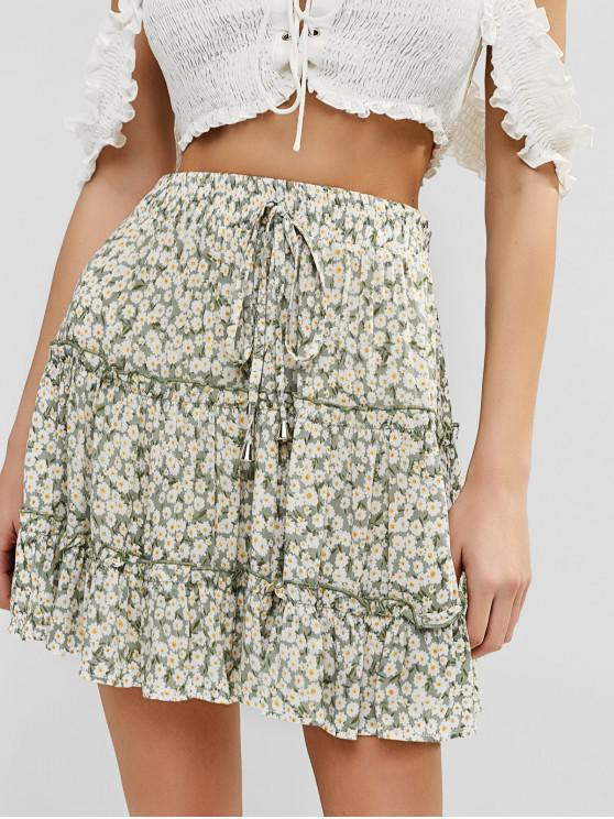 best Floral Flounce Mini Frilled Skirt - CAMOUFLAGE GREEN S