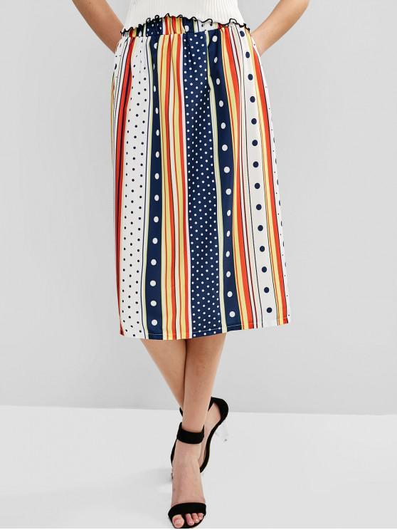 ladies Dots Stripes Straight Midi Skirt - MULTI M