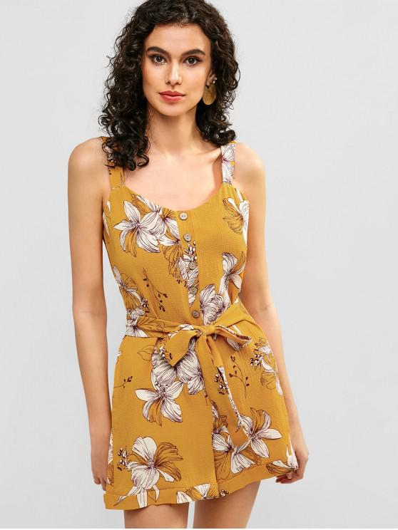 fashion Textured Cuffed Floral Romper - BEE YELLOW M