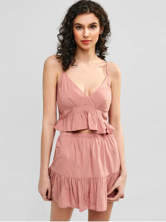 Conjunto de falda y falda de camuflaje con volantes ZAFUL - Rosado M