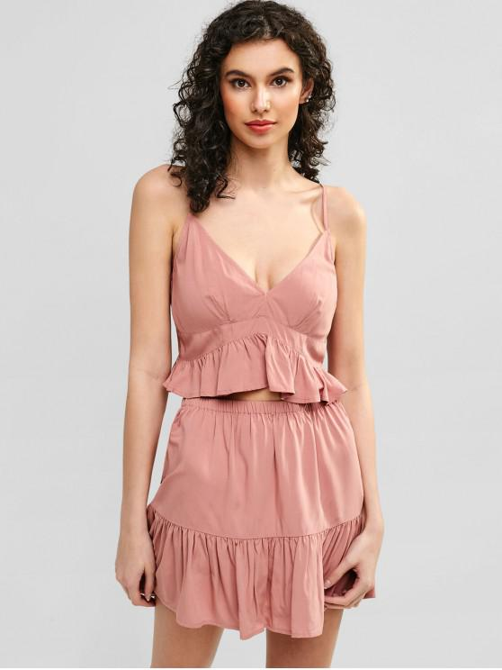 new ZAFUL Ruffles Cami Top And Skirt Set - PINK L