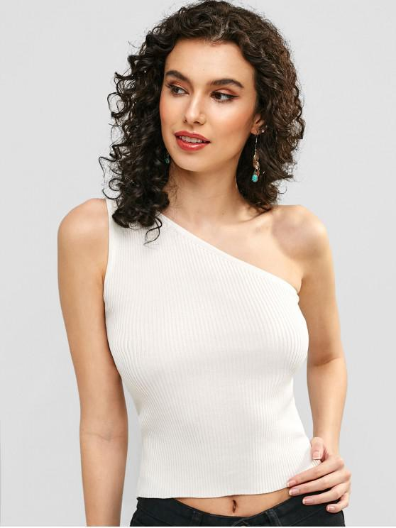 hot One Shoulder Ribbed Tank Top - WHITE ONE SIZE