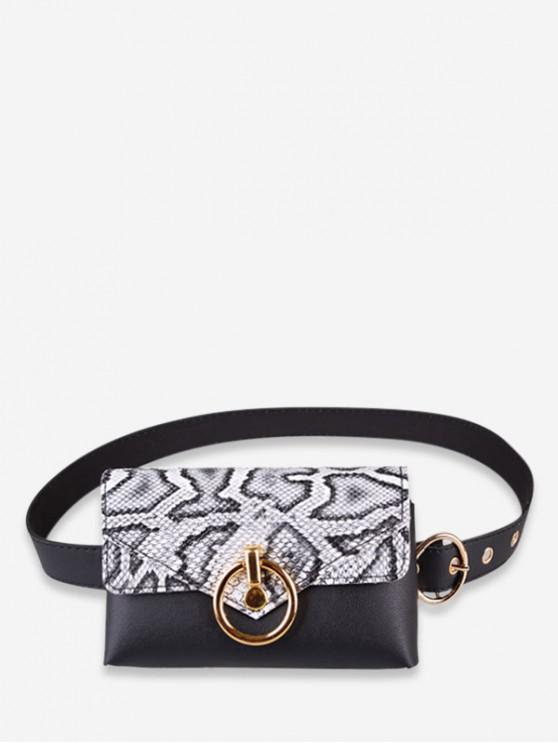 outfit Snakeskin Decoration PU Fanny Pack - WHITE