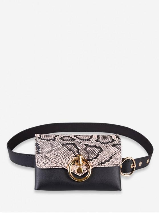 buy Snakeskin Decoration PU Fanny Pack - APRICOT