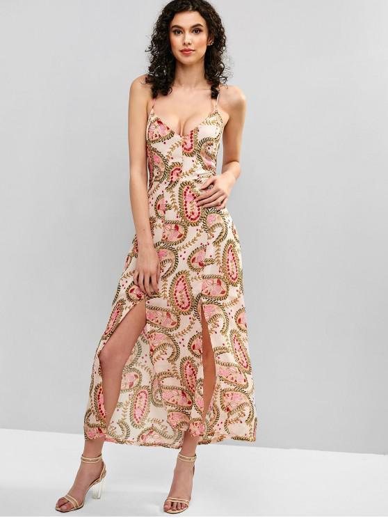 trendy Slit Floral Lace Up Cami Dress - MULTI S