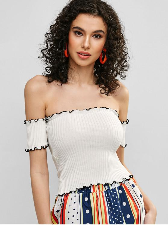 womens Off Shoulder Lettuce Trim Fitted Tee - WHITE ONE SIZE