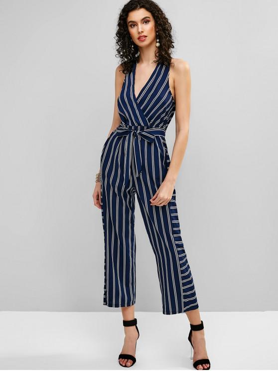 shops V Neck Striped Belted Surplice Jumpsuit - DEEP BLUE S
