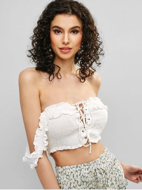 outfit ZAFUL Smocked Off Shoulder Lace Up Blouse - WHITE M