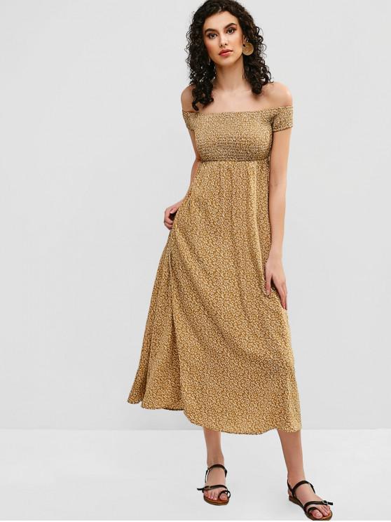 Vestido con hombros descubiertos y estampado floral ZAFUL - Galletas Brown S