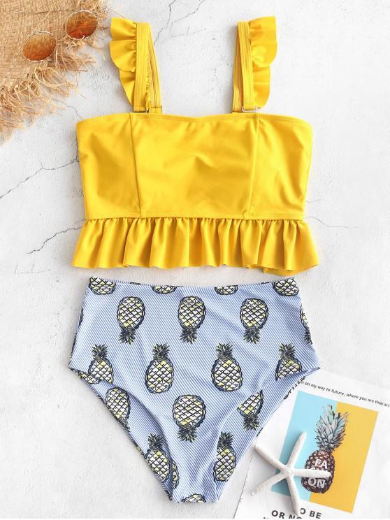 hot ZAFUL Striped Pineapple Ruffle Tankini Set - MULTI-A L