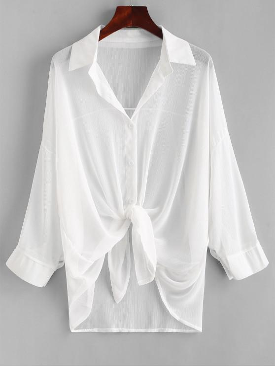 ladies Button Up Drop Shoulder Cover Up - WHITE ONE SIZE