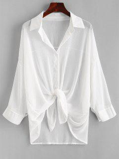 Button Up Drop Shoulder Cover Up - White