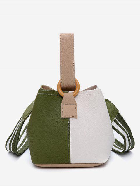 online Color Block Stripe Hand Bag - FERN GREEN  Mobile