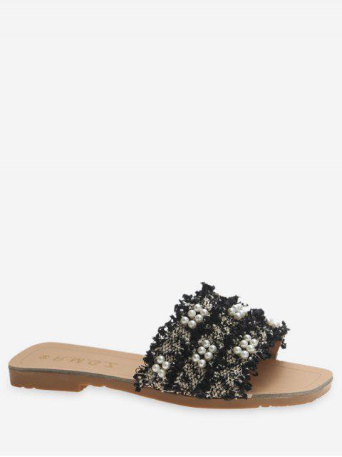 latest Raw Hem Faux Pearl Flat Slippers - BLACK EU 35 Mobile