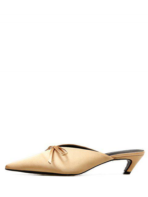 buy Pointed Toe Bow Mid Heel Slides - BEIGE EU 35 Mobile