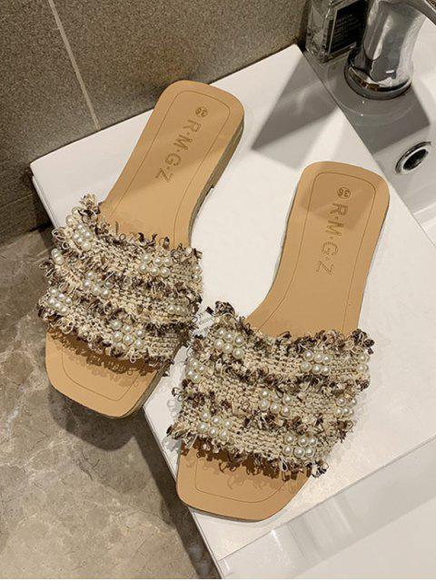 fashion Raw Hem Faux Pearl Flat Slippers - LIGHT KHAKI EU 39 Mobile