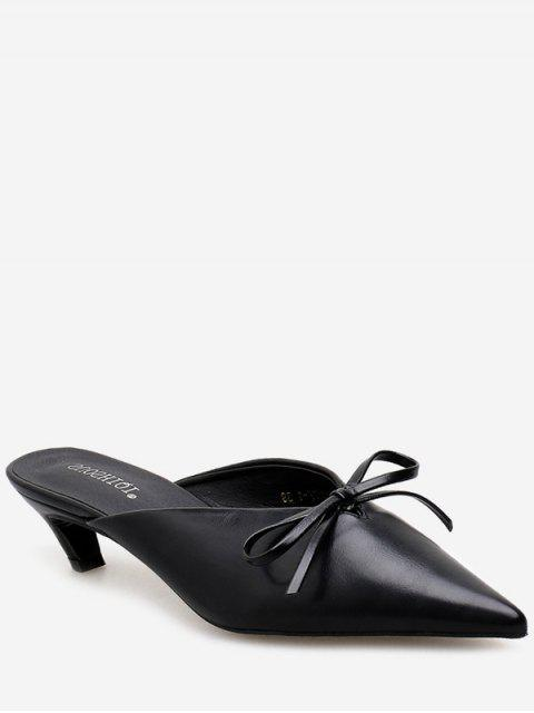 fancy Pointed Toe Bow Mid Heel Slides - BLACK EU 35 Mobile