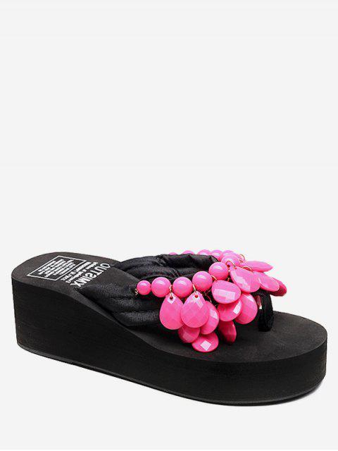 buy Wedge Heel Beads Design Thong Slides - ROSE RED EU 40 Mobile
