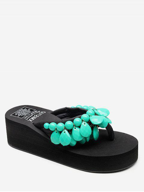 women Wedge Heel Beads Design Thong Slides - MEDIUM TURQUOISE EU 41 Mobile