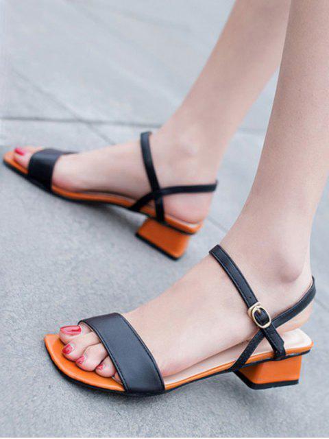 ladies Open Toe Two Tone Sandals - BLACK EU 34 Mobile
