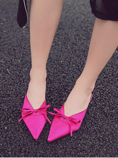 womens Pointed Toe Bow Mid Heel Slides - ROSE RED EU 39 Mobile