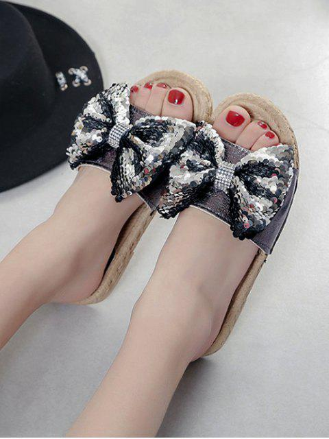 online Sequined Bow Flat Slippers - GUNMETAL EU 36 Mobile