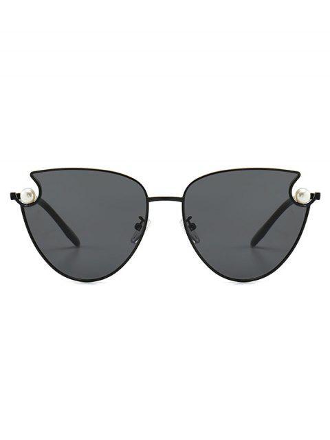 online Faux Pearl Metal Sunglasses - BLACK  Mobile