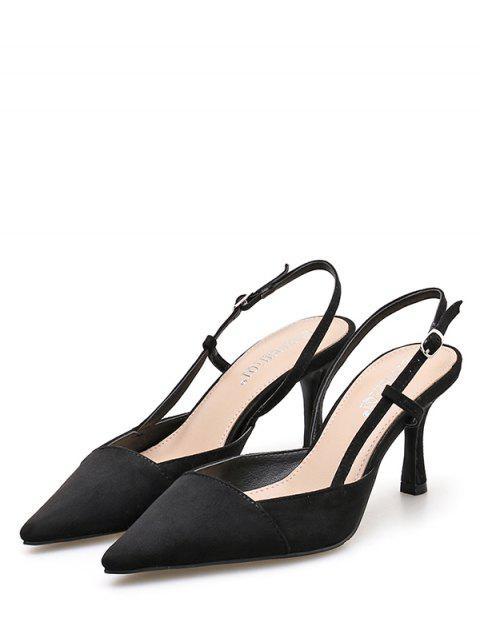 ladies Pointed Toe High Heel Slingback Sandals - BLACK EU 38 Mobile