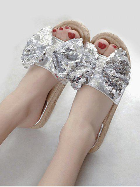 fancy Sequined Bow Flat Slippers - SILVER EU 37 Mobile