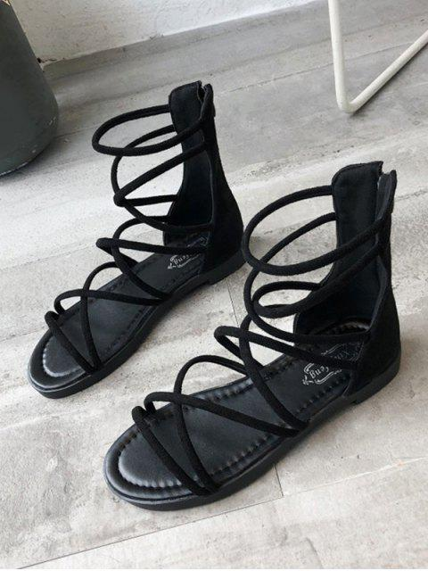 outfit Strappy Gladiator Back Zip Sandals - BLACK EU 36 Mobile