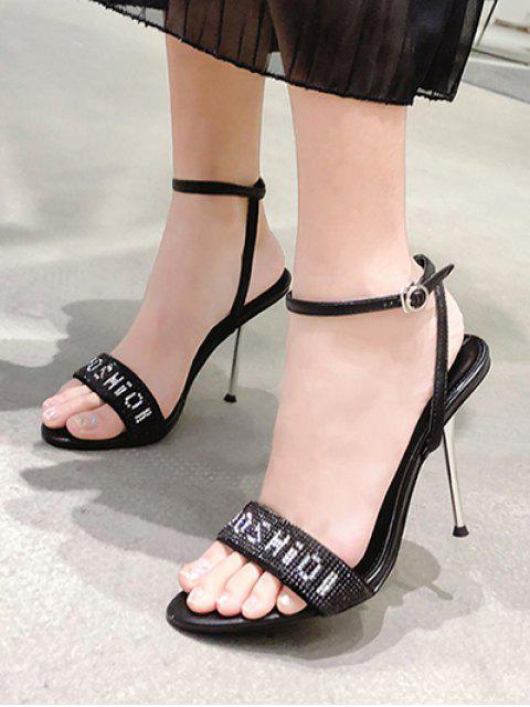 shop Full Letter Rhinestone High Heel Sandals - BLACK EU 36 Mobile