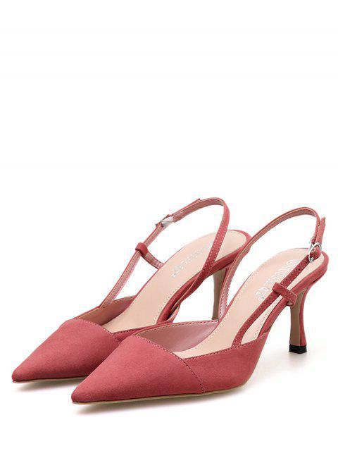 trendy Pointed Toe High Heel Slingback Sandals - PINK EU 38 Mobile
