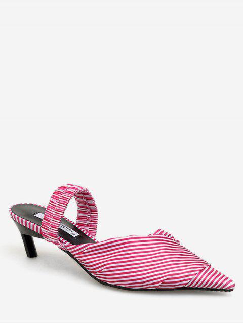 unique Striped Print Kitten Heel Sandals - PINK EU 38 Mobile