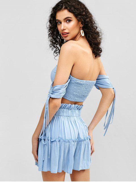 hot ZAFUL Cinched Smocked Top and Flare Skirt Set - LIGHT BLUE M Mobile