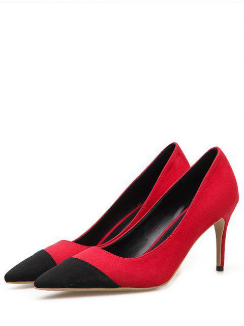 chic Color Block Decoration Stiletto Heel Pumps - RED EU 35 Mobile