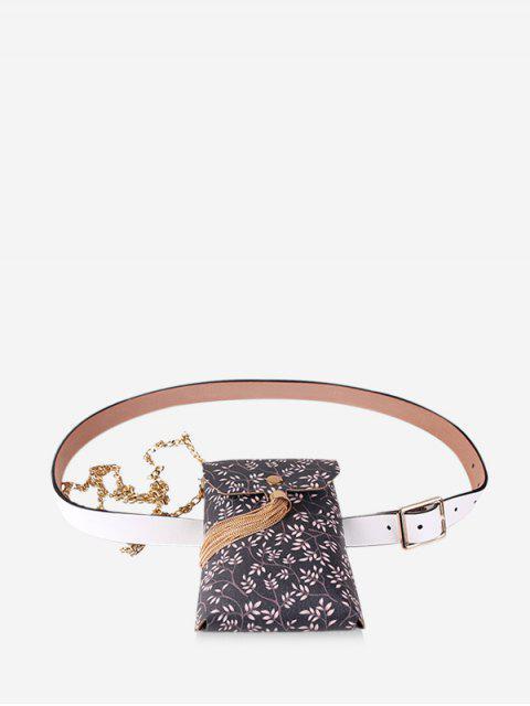 women Floral Print Tassel Design Fanny Pack - BLACK  Mobile