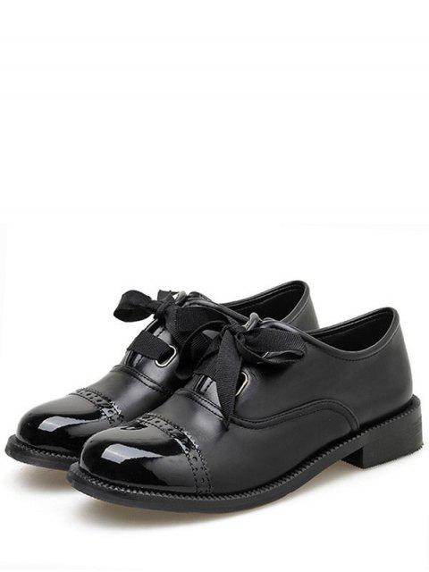 hot British Round Toe Lace Up Shoes - BLACK EU 37 Mobile