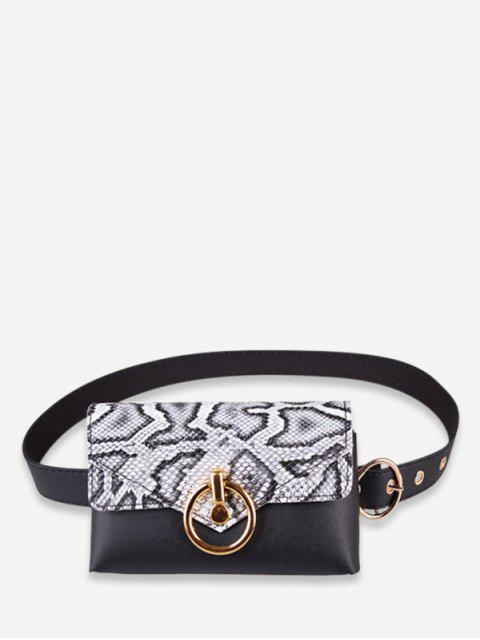 outfit Snakeskin Decoration PU Fanny Pack - WHITE  Mobile