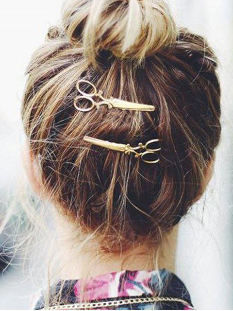 buy Unique Scissor Design Alloy Hairpin - GOLD  Mobile
