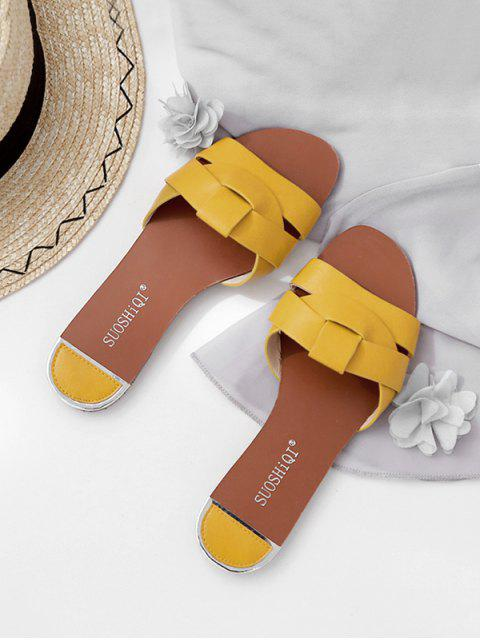 latest Simple Cross PU Leather Slides - YELLOW EU 37 Mobile