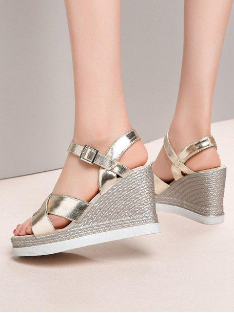 outfit Cross Strap Wedge High Heel Sandals - GOLD EU 34 Mobile