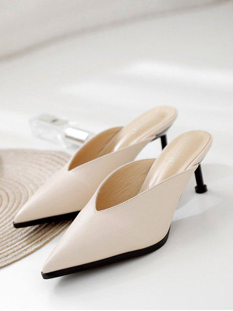 lady Pointed Toe V Cut Stiletto Heel Slides - APRICOT EU 37 Mobile