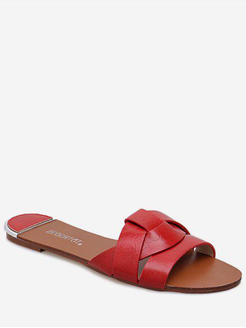 outfit Simple Cross PU Leather Slides - RED EU 35 Mobile
