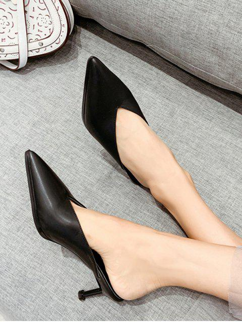 shop Pointed Toe V Cut Stiletto Heel Slides - BLACK EU 39 Mobile