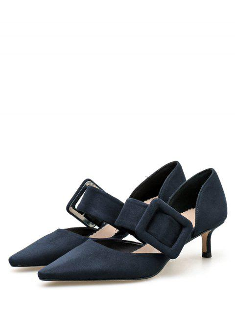 shops Pointed Toe Buckled Suede Sandals - DEEP BLUE EU 36 Mobile
