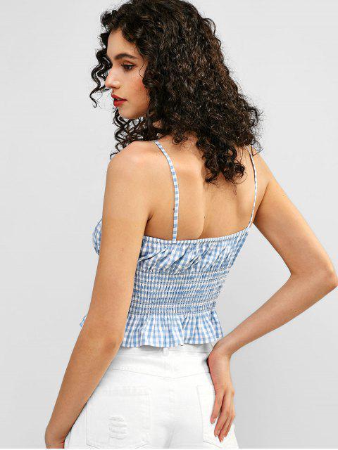 trendy ZAFUL Smocked Gingham Crop Cami Top - LIGHT BLUE S Mobile