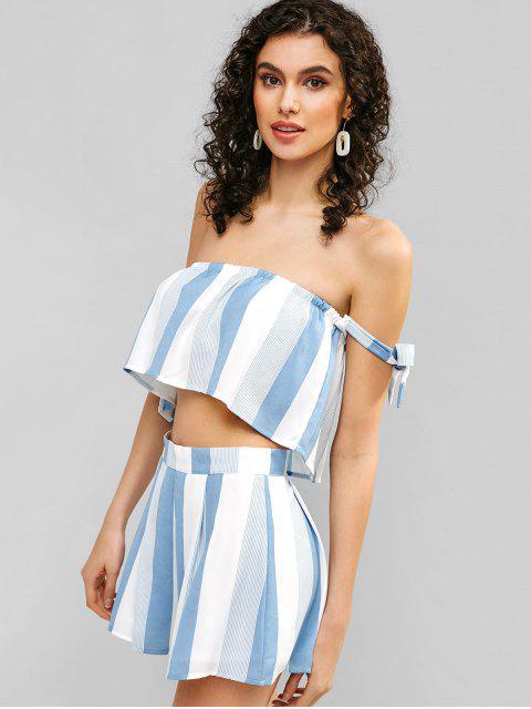 fancy Tie Striped Off Shoulder Top and Shorts Set - MILK WHITE L Mobile