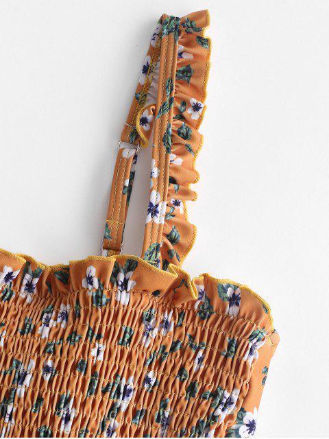 ZAFUL Frilled Shirred Floral Bañador de una pieza - Oro Anaranjado S Mobile